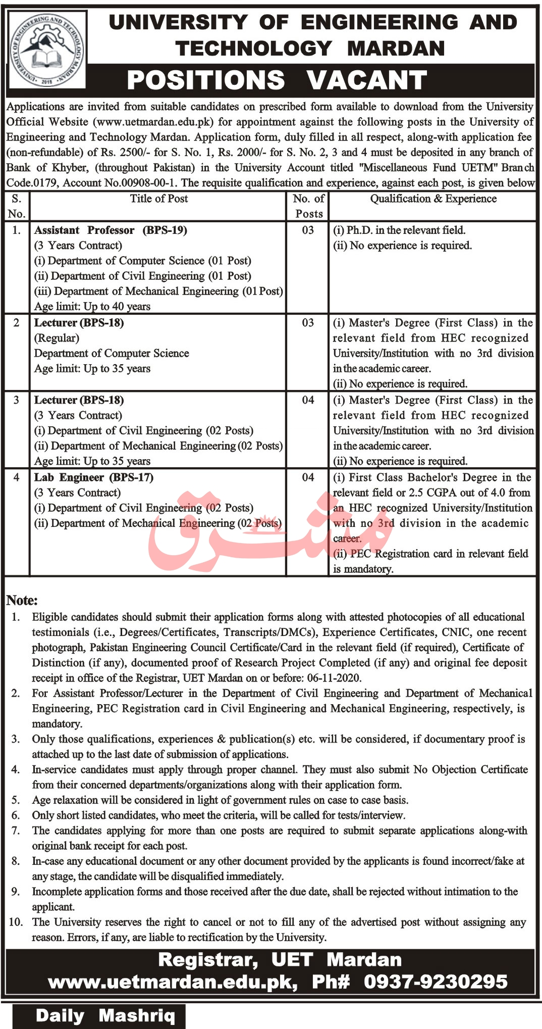 University of Engineering and Technology Mardan Jobs October 2020