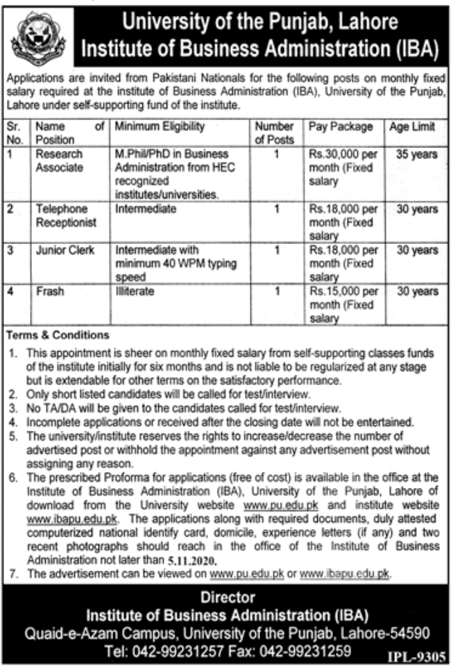 University of the Punjab Lahore Jobs October 2020
