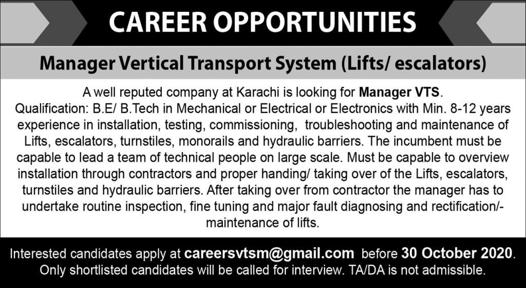Vertical Transport System (VTS) Jobs October 2020