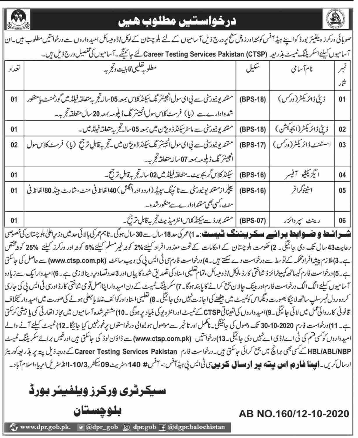 Workers Welfare Board Jobs October 2020