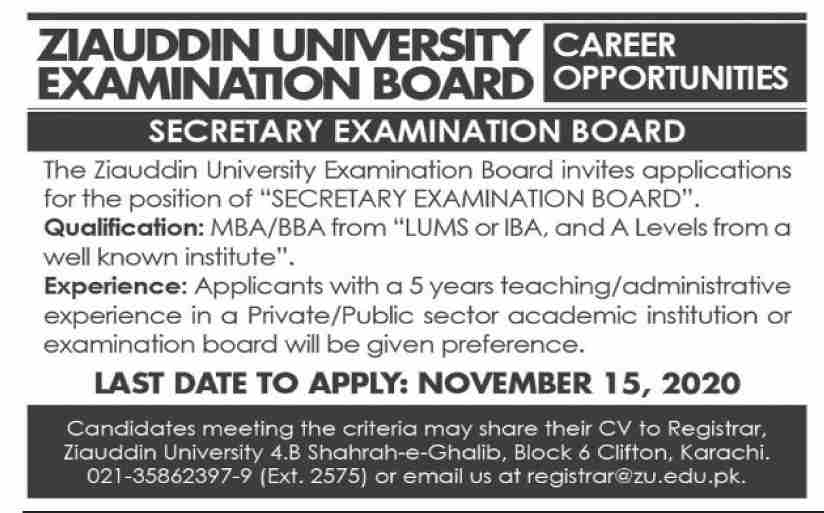 Ziauddin University Examination Board Jobs October 2020