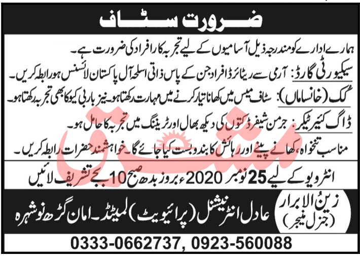 Adil International Private Limited Jobs November 2020