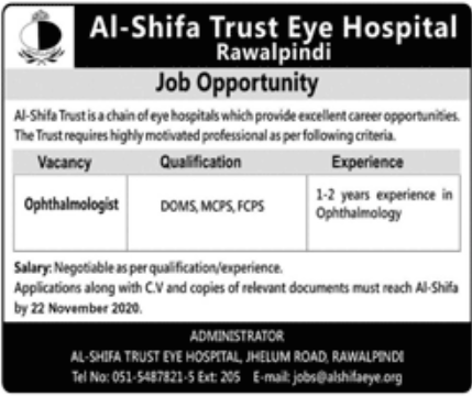 Al Shifa Trust Eye Hospital Jobs November 2020