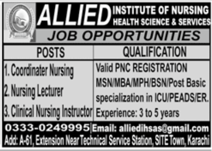 Allied Institute of Nursing Health Science & Services Jobs November 2020