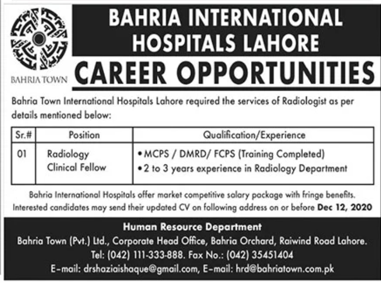 Bahria International Hospitals Lahore Jobs November 2020