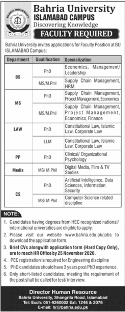 Bahria University Islamabad Jobs November 2020