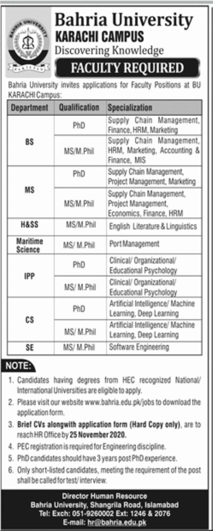 Bahria University Karachi Jobs November 2020