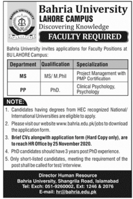 Bahria University Lahore Jobs November 2020