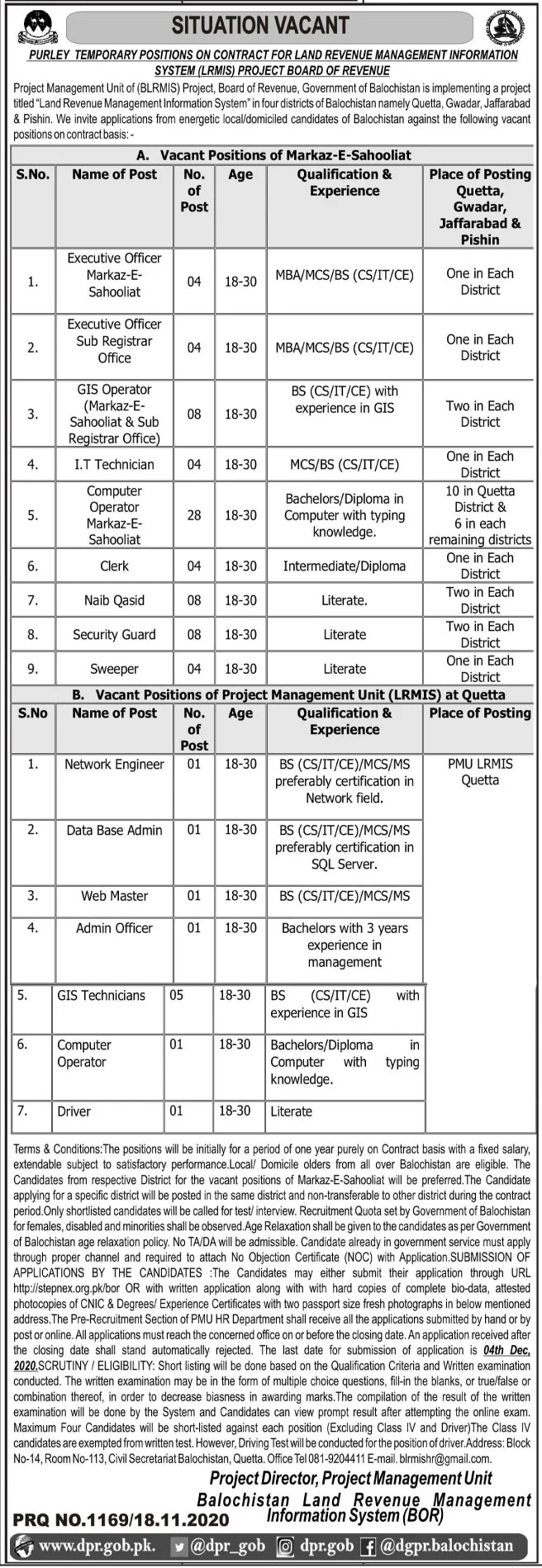 Board of Revenue Government of Balochistan Jobs November 2020