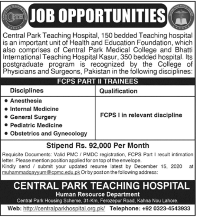 Central Park Teaching Hospital Jobs November 2020