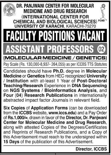 Chemical and Biological Sciences University of Karachi Jobs November 2020