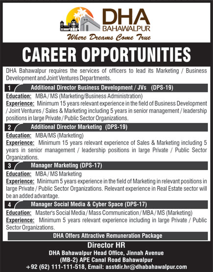 DHA Bahawalpur Jobs November 2020