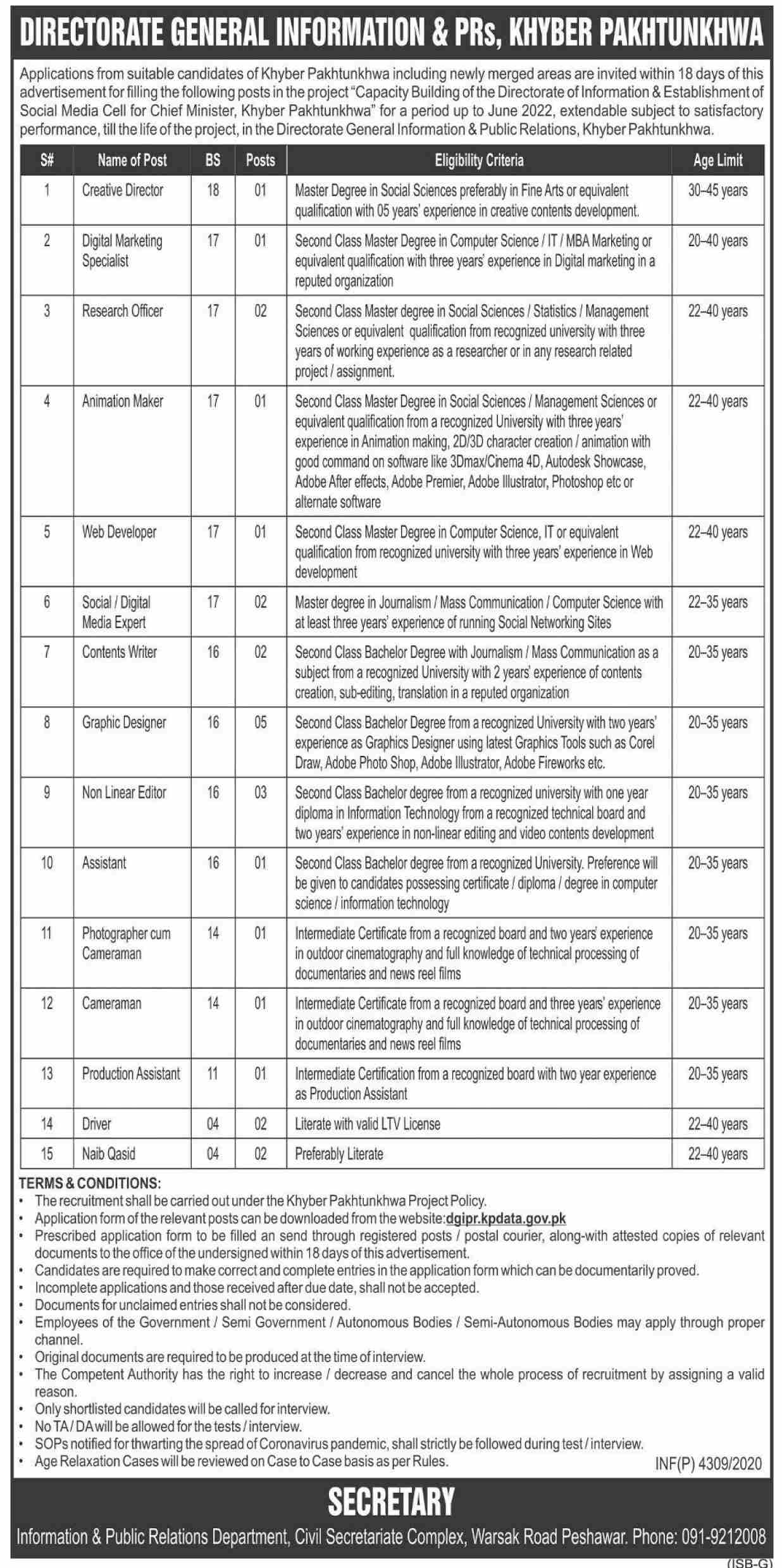 Directorate General Information & PRs Khyber Pakhtunkhwa Jobs November 2020