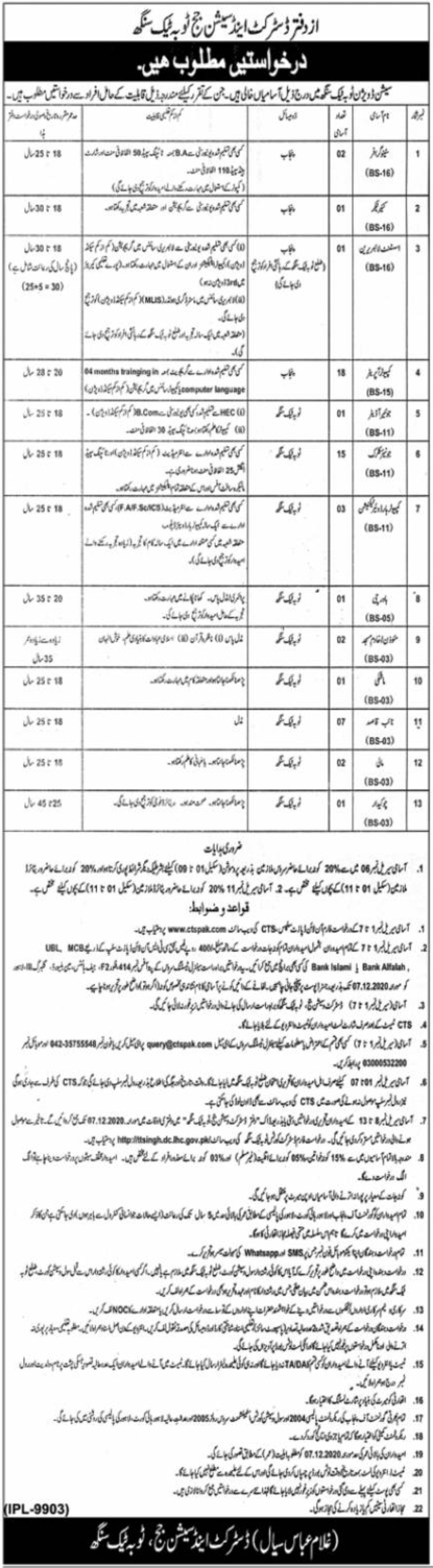 District and Session Judge Toba Tek Singh Jobs November 2020
