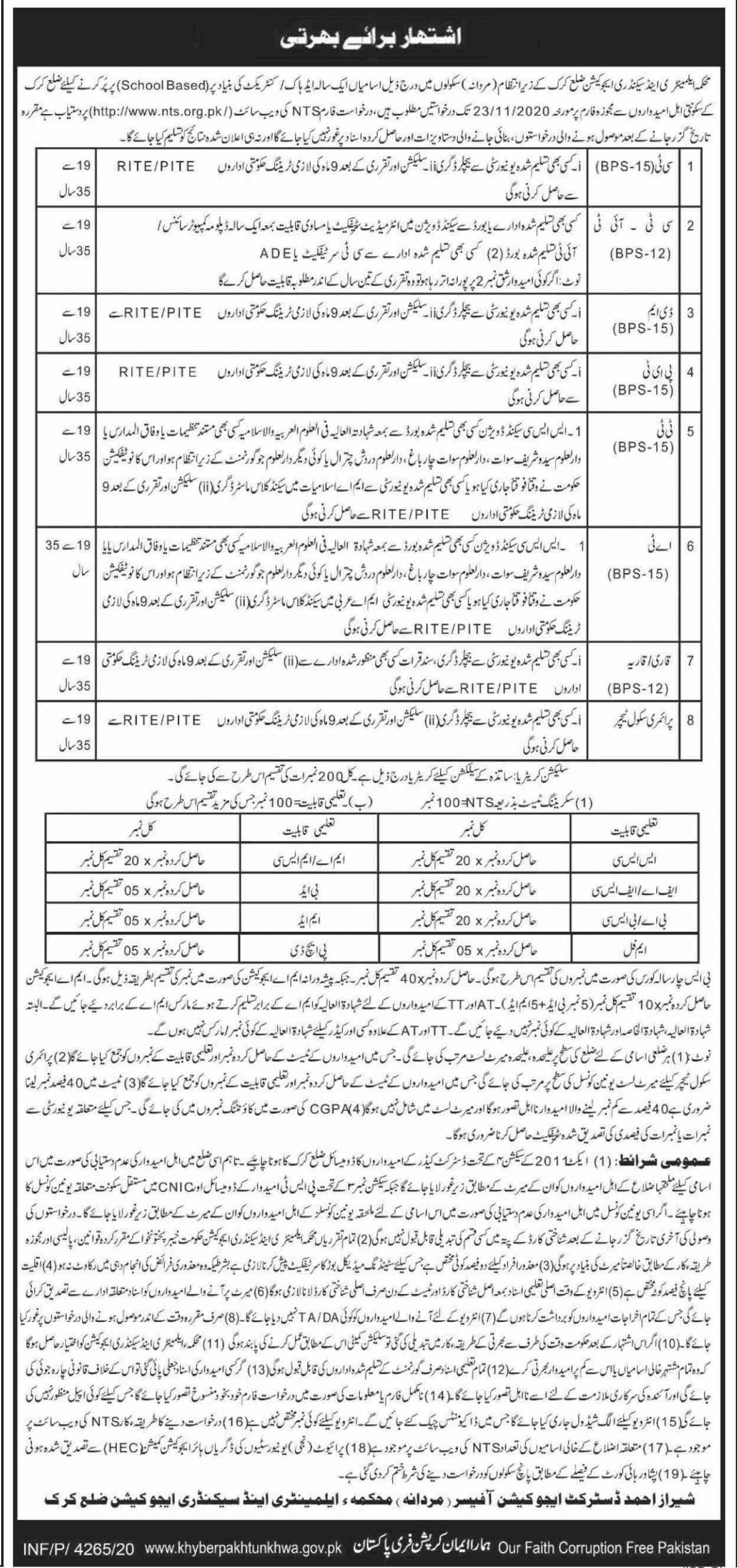 Elementary & Secondary Education Department Jobs November 2020