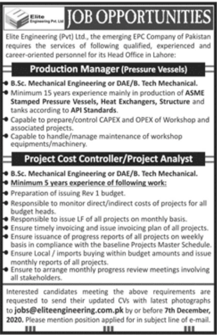 Elite Engineering Pvt Ltd Jobs November 2020