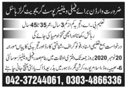 Family Welfare Post Graduate Girls Jobs November 2020