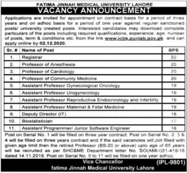 Fatima Jinnah Medical University Lahore Jobs November 2020