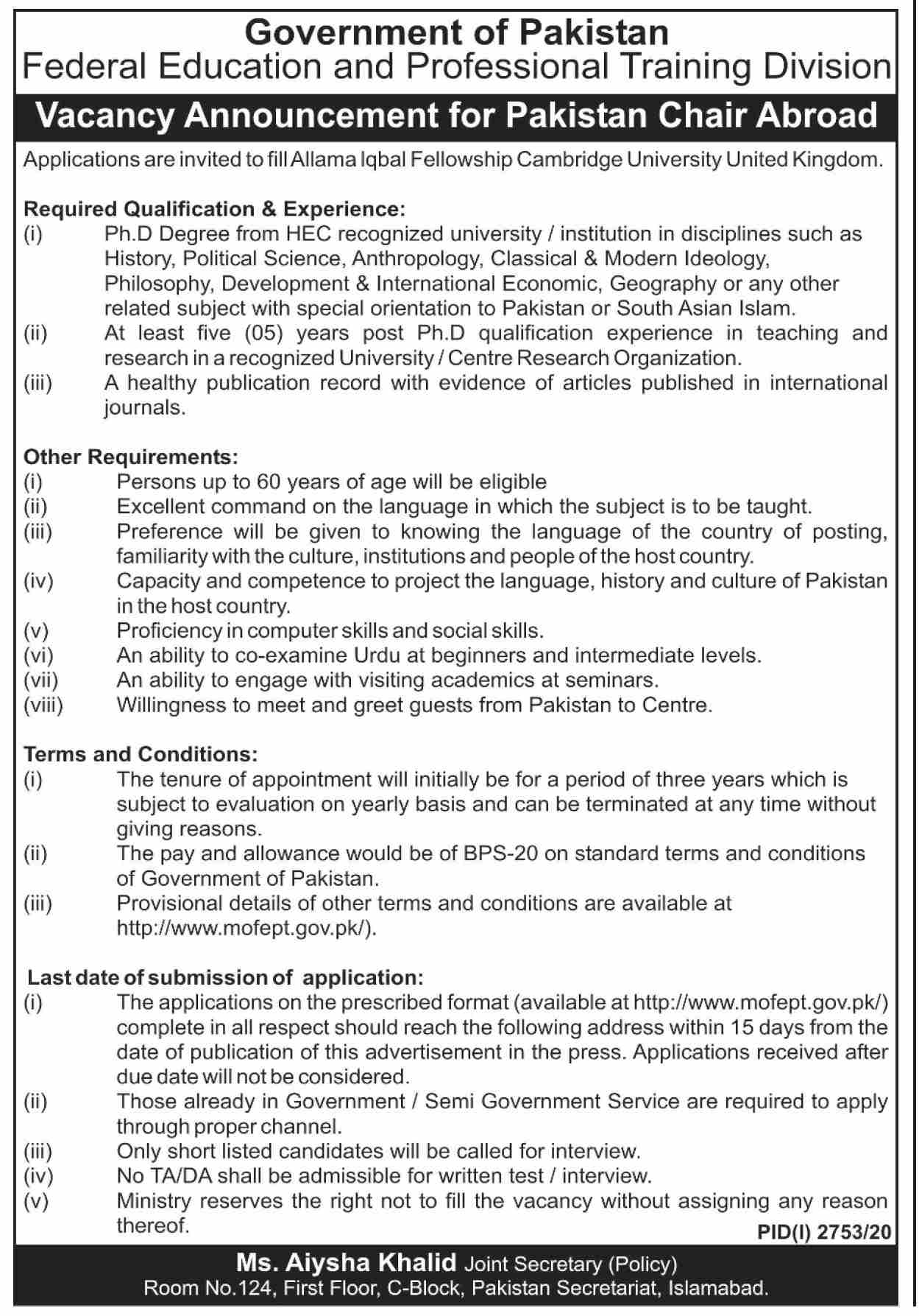 Federal Education and Professional Training Division Jobs November 2020