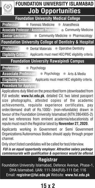 Foundation University Islamabad Jobs November 2020