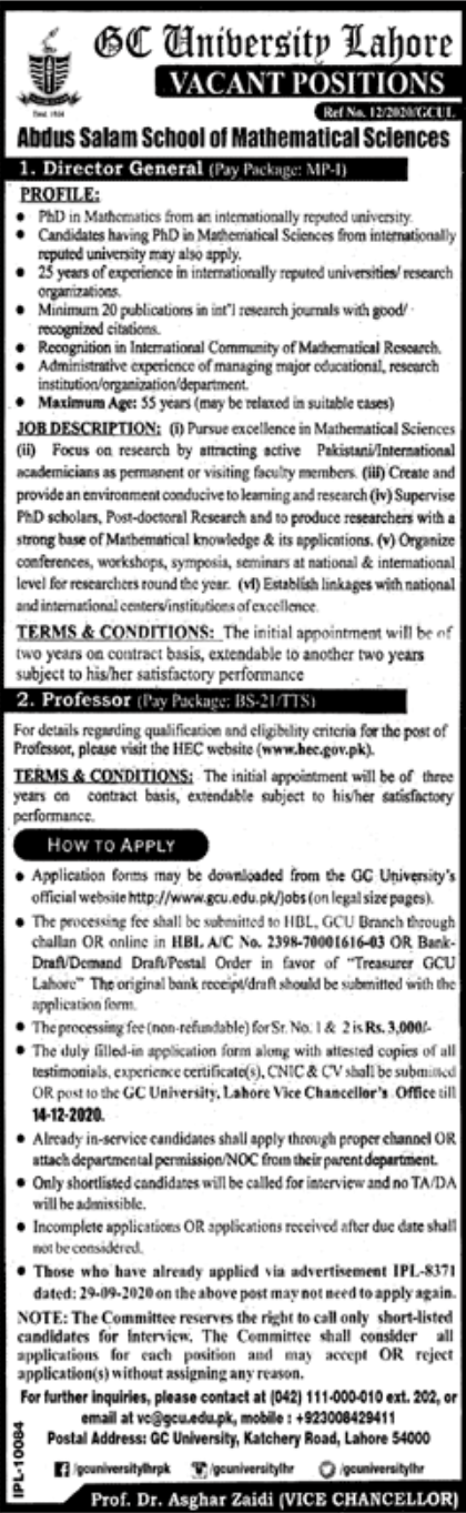 GC University Lahore Jobs November 2020