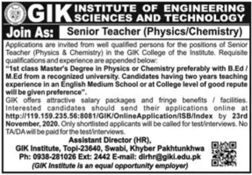 GIK Institute of Engineering Sciences and Technology Jobs November 2020