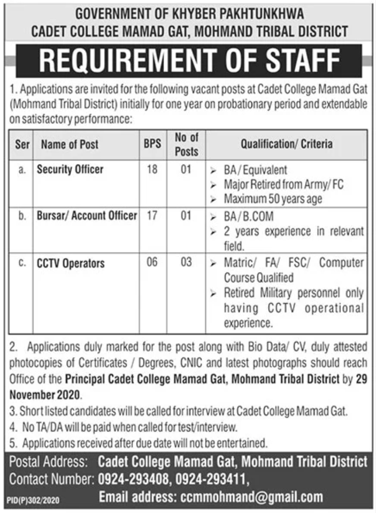 Government of Khyber Pakhtunkhwa Cadet College Mamad Gat Jobs November 2020
