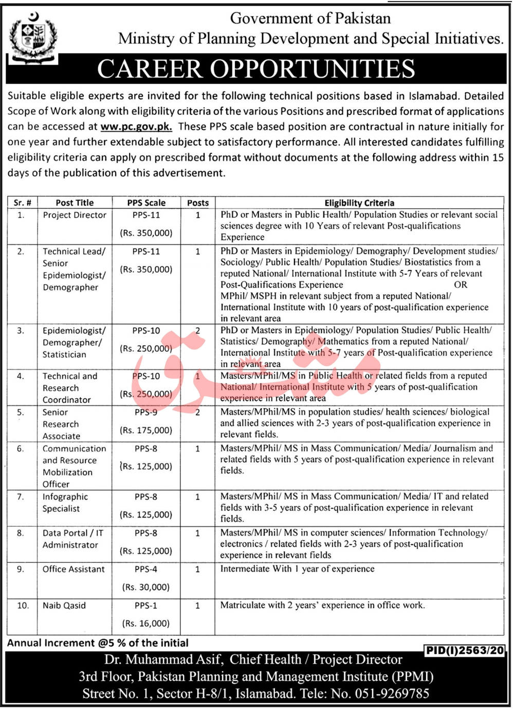 Government of Pakistan Ministry of Planning Development and Special Initiatives Jobs November 2020