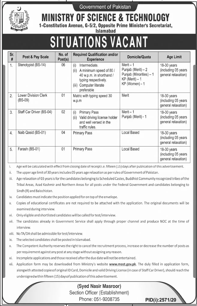 Government of Pakistan Ministry of Science & Technology Jobs November 2020
