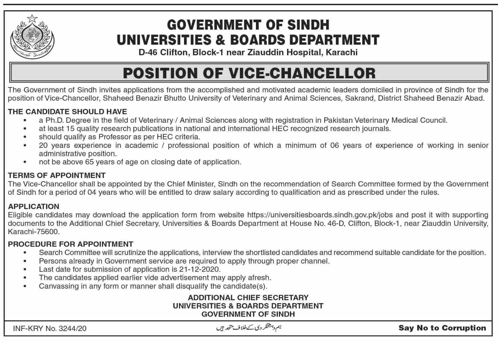 Government of Sindh Universities & Boards Department Jobs November 2020