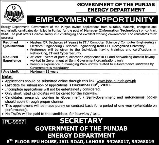 Government of the Punjab Energy Department Jobs November 2020