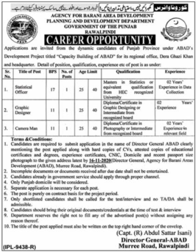Government of the Punjab Planning and Development Department Jobs November 2020