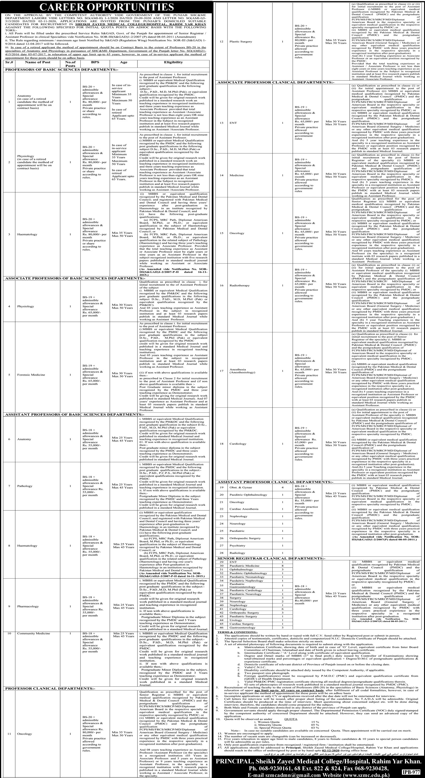 Government of the Punjab SHC&ME Department Lahore Jobs Jobs November 2020
