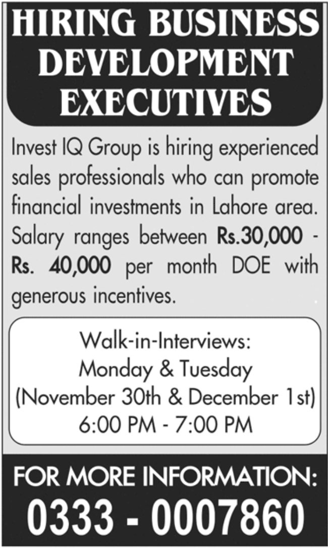 IQ Group Jobs November 2020