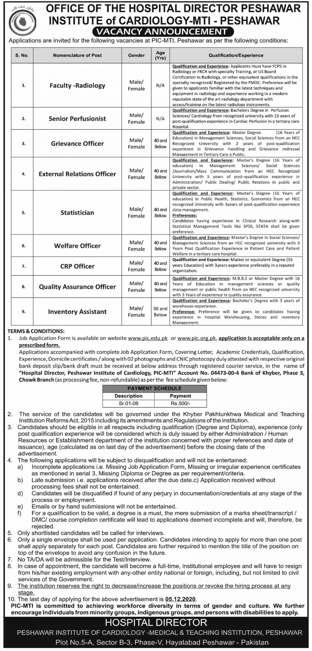 Institute of Cardiology MTI Peshawar Jobs November 2020