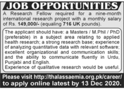 International Research Project Jobs November 2020