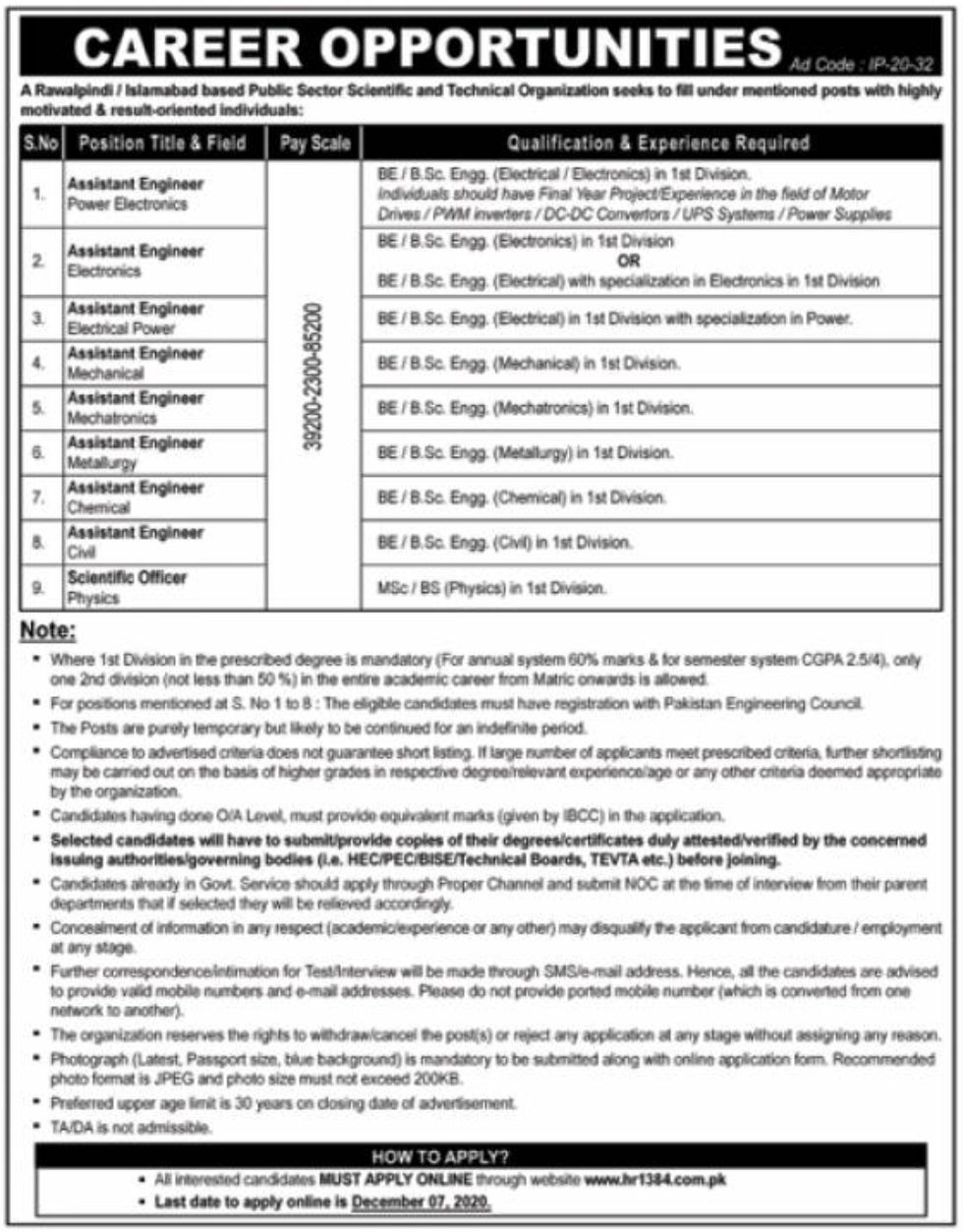 Islamabad Public Sector Scientific and Technical Organization Jobs November 2020