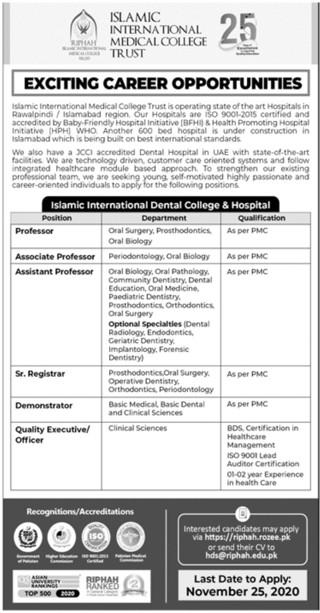 Islamic International Medical College Trust Jobs November 2020
