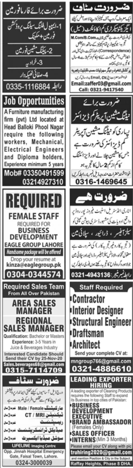 Jang Newspaper Jobs 15 November 2020