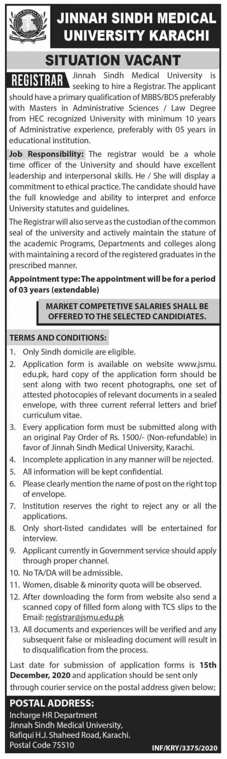 Jinnah Sindh Medical University Karachi Jobs November 2020