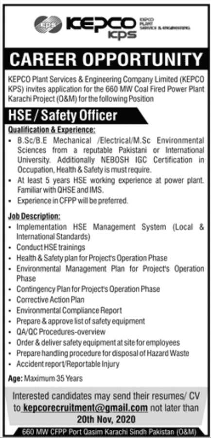 KEPCO Plant Services & Engineering Company Limited Jobs November 2020