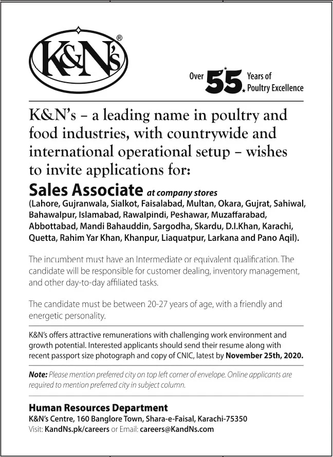 K&Ns Leading Poultry and Food Industries Jobs November 2020