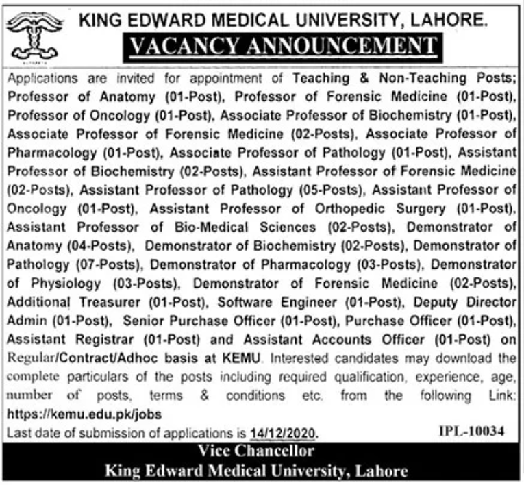King Edward Medical University Lahore Jobs November 2020