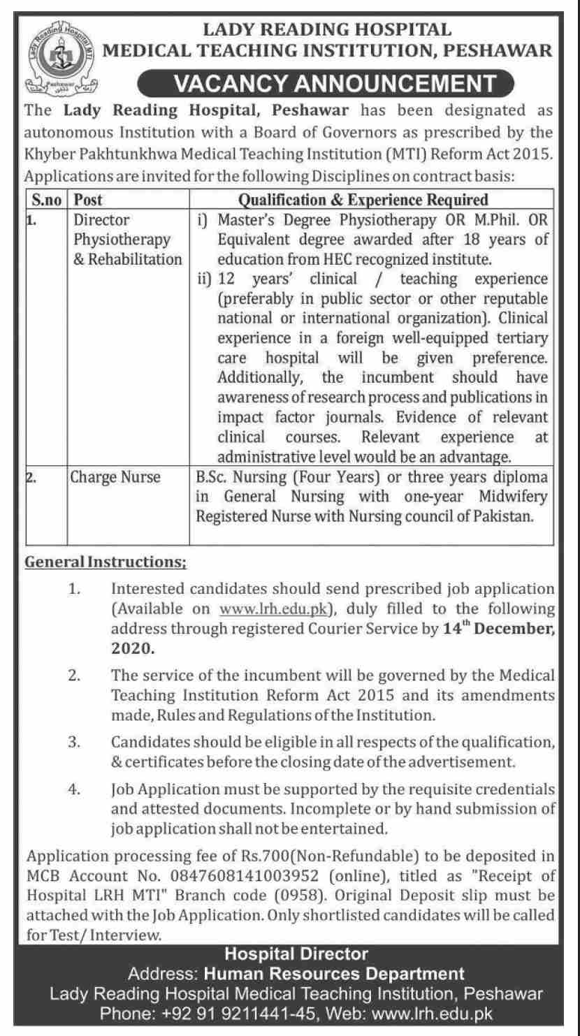 Lady Reading Hospital Medical Teaching Institution Jobs November 2020