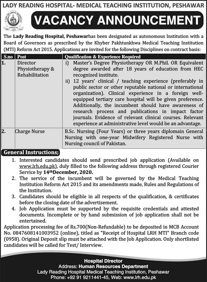 Lady Reading Hospital Peshawar Jobs November 2020