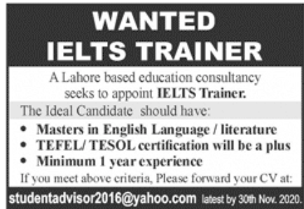 Lahore Based Education Consultancy Jobs November 2020