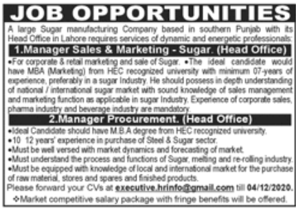 Large Sugar Manufacturing Company Jobs November 2020