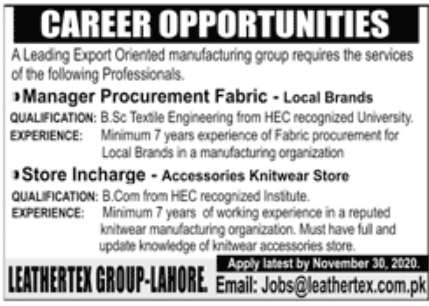 Leading Export Oriented Manufacturing Group Jobs November 2020