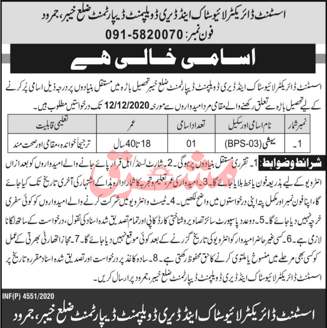 Livestock & Dairy Development Department Jobs November 2020