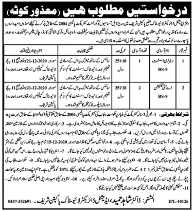Livestock Pak Pattan Jobs November 2020
